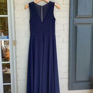 Anthropologie BHLDN navy illusion bodice gown